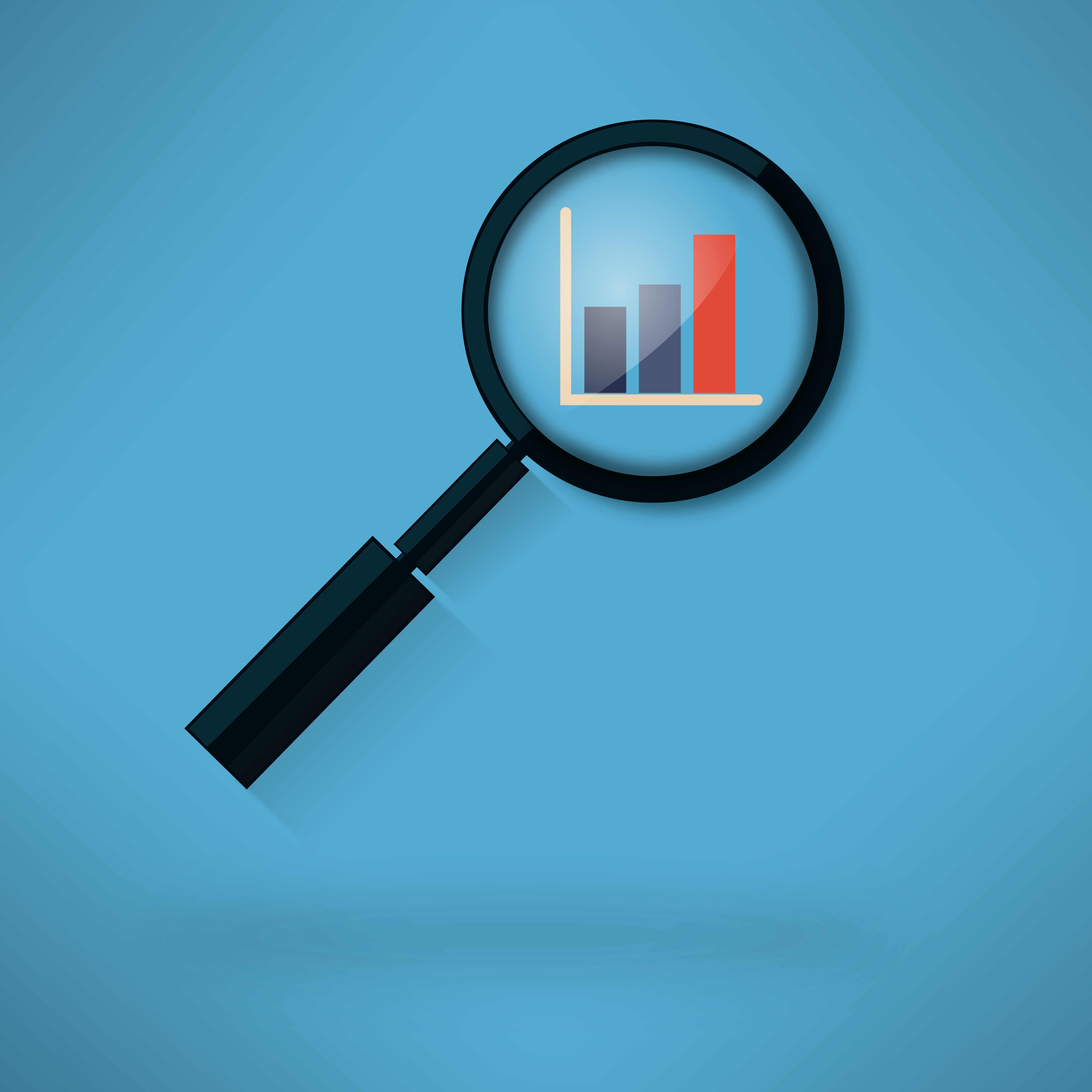 Analyzing histogram with magnifying glass
