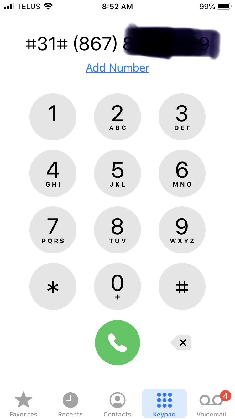 visual showing how to block a phone call using #31#